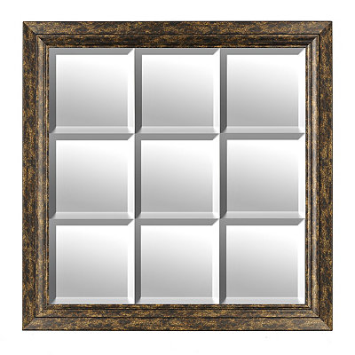Bronze 9-Pane Framed Mirror, 36.75x36.75 in.