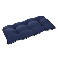 Solid Navy Outdoor Settee Cushion