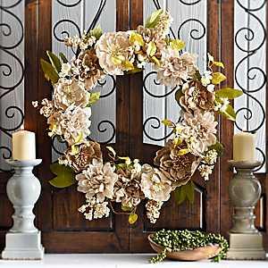 Burlap Peony and Dahlia Wreath
