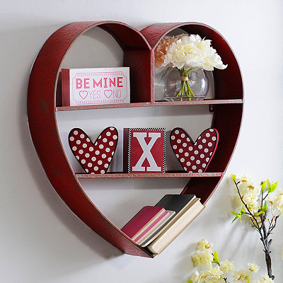 Red Heart Valentine Storage Cubby