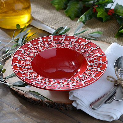 Red and White Deer Soup Bowl