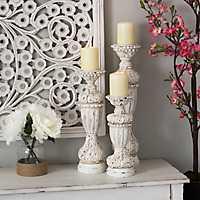 Cream Baroque Candlesticks, Set of 3