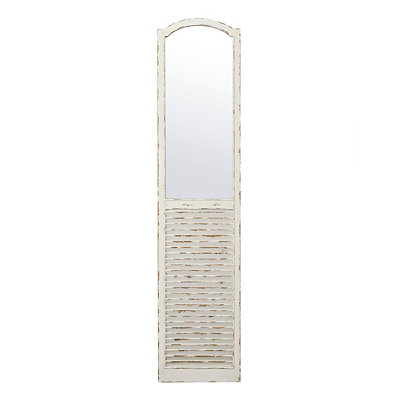 Distressed Cream Shutter Panel Mirror, 16x70