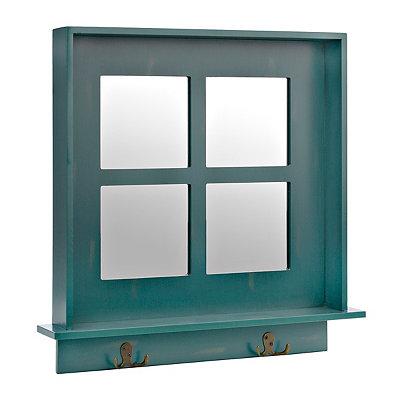 Turquoise Window Pane Wall Shelf Mirror with Hooks
