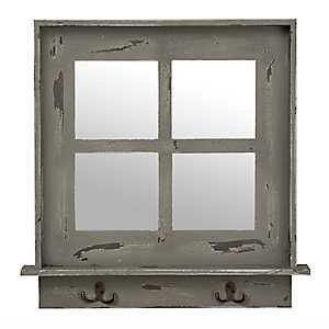 Gray Window Pane Wall Shelf Mirror with Hooks