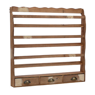Distressed Natural Wooden Plate Rack