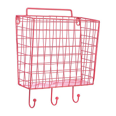 Pink Metal Mesh Basket with Wall Hook