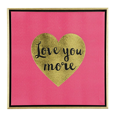 Love You More Framed Canvas Plaque
