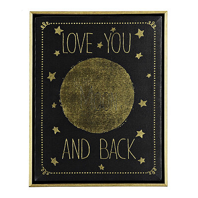 Love You to the Moon and Back Framed Canvas Plaque