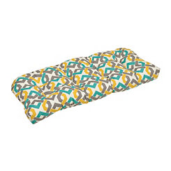 Aqua & Yellow Outdoor Geometric Settee Cushion