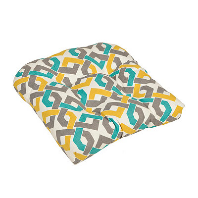 Aqua & Yellow Geometric Outdoor Cushion