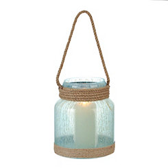 Aqua Diepre Lantern with Rope Handle