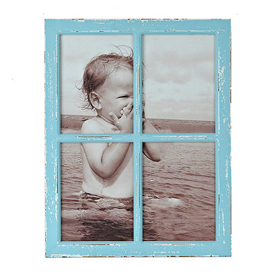 Turquoise 4-Opening Window Pane Collage Frame