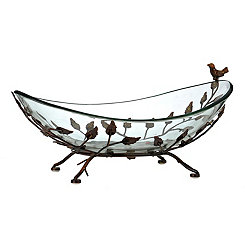 Bird and Leaves Glass and Metal Bowl
