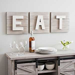 Distressed Eat Wooden Plaques, Set of 3