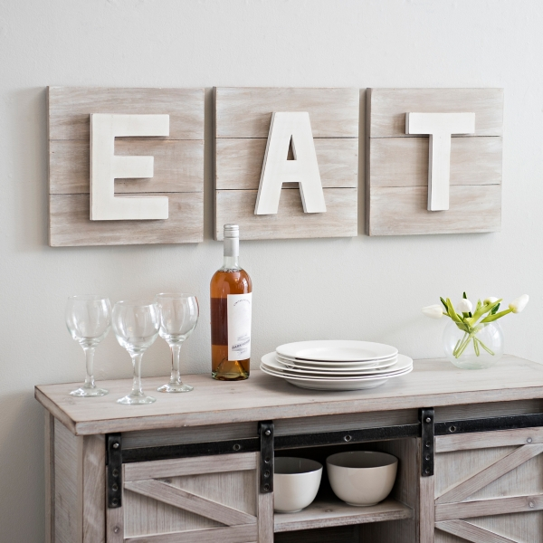 distressed eat wooden plaques set of 3