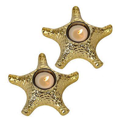 Gold Starfish Votive Candle Holders, Set of 2