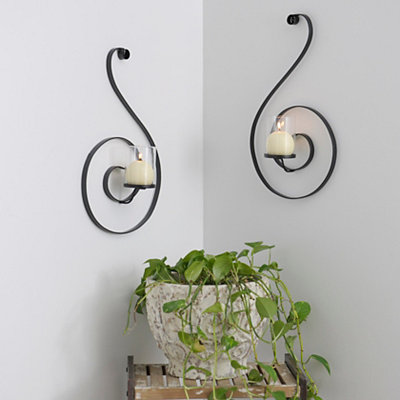 Metal Curls Votive Sconces, Set of 2