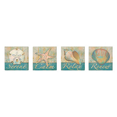 Coastal Words Coasters, Set of 4
