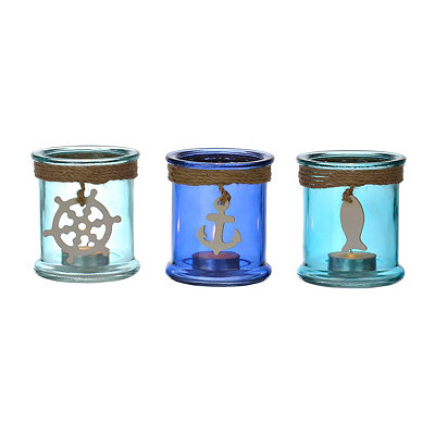 Coastal Votive Candle Holders, Set of 3