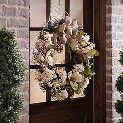 Burlap Magnolia Wreath