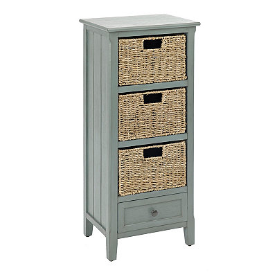 Arctic Blue 4-Drawer Beadboard Cabinet