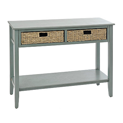 Arctic Blue 2-Drawer Beadboard Console Table