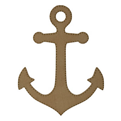 Natural Burlap Studded Anchor Plaque