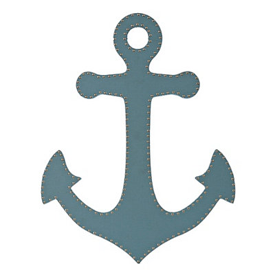Blue Burlap Studded Anchor Plaque