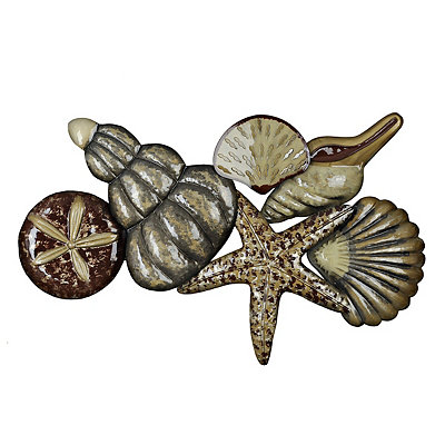 Natural Sea Shells Metal Plaque, 31x25 in.