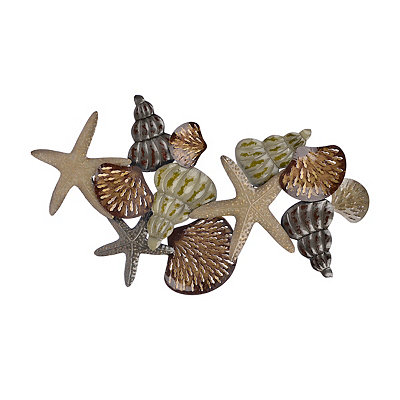 Natural Sea Shells Metal Plaque, 56x31 in.