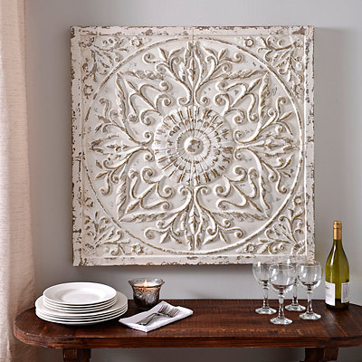 Aria Distressed Cream Embossed Metal Tile