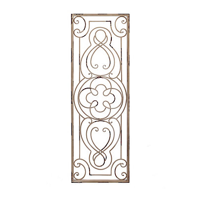 Clara Distressed Cream Metal Plaque