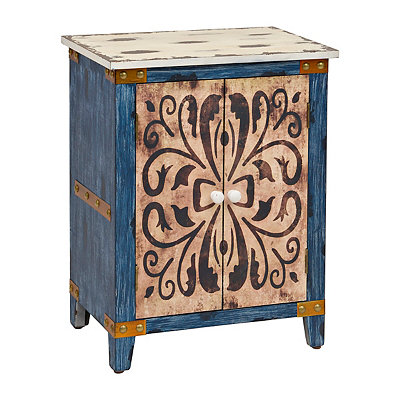 Distressed Scrolled 2-Drawer Cabinet