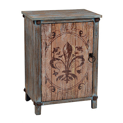 Distressed Fleur-de-lis 1-Door Chest