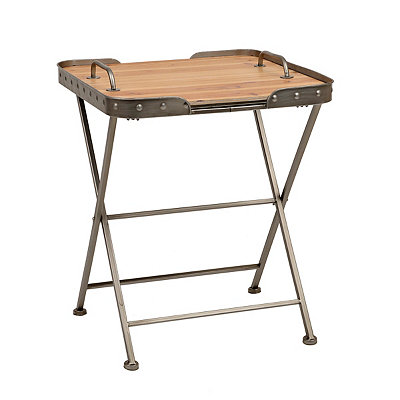 Industrial Folding Side Table with Removable Top