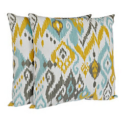 Blue and Yellow Outdoor Accent Pillows, Set of 2
