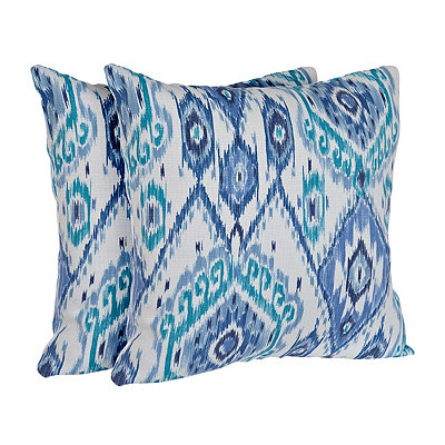 Losani Blue Ikat Outdoor Accent Pillows, Set of 2