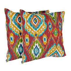 Losani Red Ikat Outdoor Accent Pillows, Set of 2