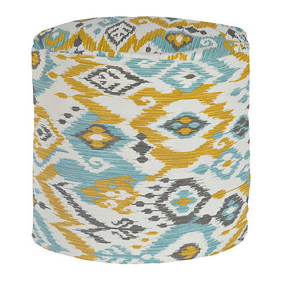 Yellow and Blue Ikat Outdoor Pouf
