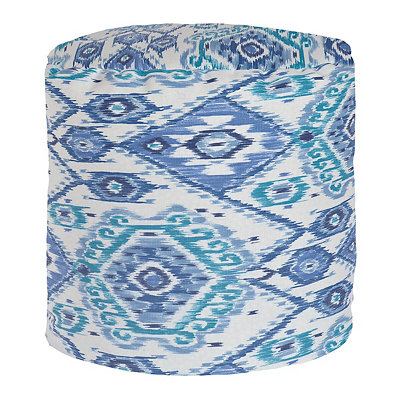 Losani Blue Ikat Outdoor Pouf