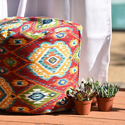 Losani Red Ikat Outdoor Pouf