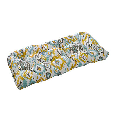 Blue and Yellow Outdoor Settee Cushion