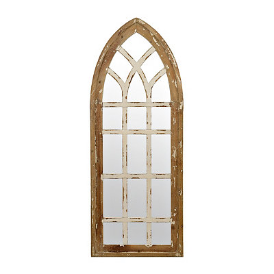 Miller Distressed White Arch Mirror
