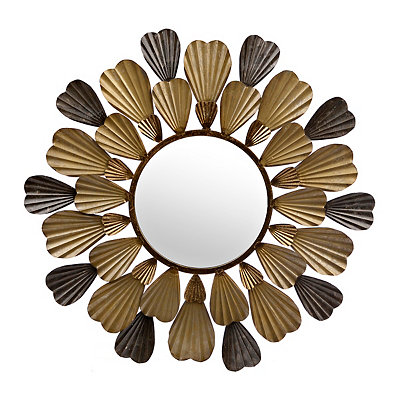 Mixed Metallic Bloom Mirror, 29x28