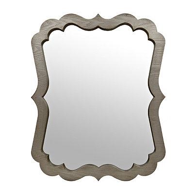 Elegant Scalloped Wood Grain Mirror, 40 x 31.5