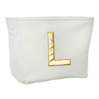 Ivory and Gold Monogram L Storage Bin