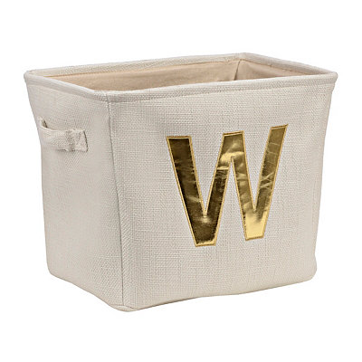 ivory and gold monogram w storage bin