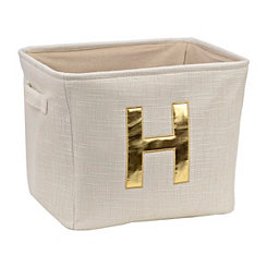 Ivory and Gold Monogram H Storage Bin