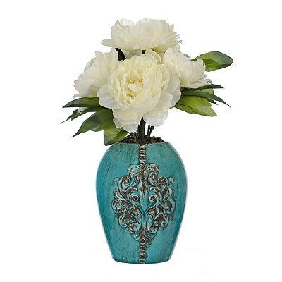 White Peony Arrangement in a Teal Pot